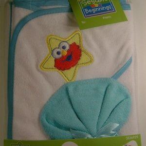 Elmo Sesame Street Hooded Towel Washcloth Blue